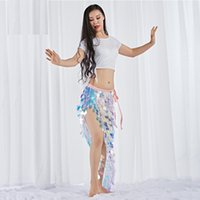 New Women Dance Wear Spandex Stretchy Clothes Multicolor Squama Over-Skirt Sequins Hip Scarf Belly Dance Costume Set 2pcs