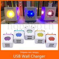 Led light Dual USB travel/home wall charger With IC Protector EU/US plug AC power adapter for Iphone Samsung Galaxy Note LG