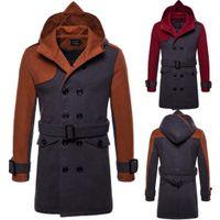 Плюс размер Мужчины пальто зимы Mens Long Pea Coat Мужчины Шерсть Шинель Двойной Брестед Мужчины Тренч пальто с капюшоном J180766