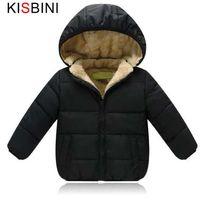 KISBINI дети зимняя куртка толстый бархат девушки мальчики пальто теплые детские куртки хлопок Детская одежда мягкий куртка Детская одежда
