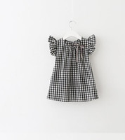Children dress shirt girls plaid bows ribbon princess tops k...