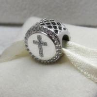 925 Sterling Silver Faith Cross charme Bead se encaixa no Europeu Pandora estilo jóias pulseiras colar