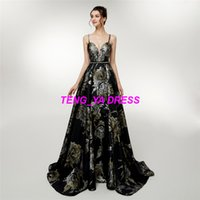 2018 Fashion Beautiful Flower Printing Beaded A Line Spaghet...