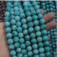 "8mm 10mm larimar 가공 / 구리 Pectolite 비즈 스페이서 스톤 비즈 DIY loose beads for jewelry 15 ""무료 배송"
