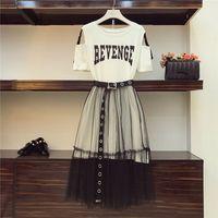 2 шт. набор 2018 летний женский хлопок длинные без бретелек футболка + сетка видеть сквозь юбки наборы женская мода отверстия пояса юбки костюмы
