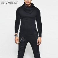 Envmenst العادية أعلى أزياء العلامة التجارية سلحفاة الرقبة الشارع تي شيرت الرجال الهيب هوب طويلة الأكمام التباين تصميم الرجال تيز لنا حجم 5xl