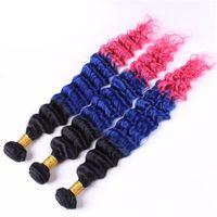 브라질 인간의 곱슬 곱슬 머리 Weft 100 % 인간의 머리 짜다 곱슬 번들 색상 깊은 파도 세 톤 옹 브르 블루 핑크 머리카락