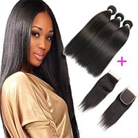 Brazilian Hair With Closure 3 Bundles Straight Virgin Human ...
