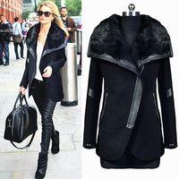 Elegant Female Overcoat New Fashion 2018 Winter Women's Black Fur Collar Long Sleeve Zipper Woolen winter long coats for women
