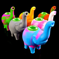 Silicone Elephant Pipe With Glass Bowl mini bubbler Water Pi...