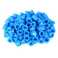 500PCS Bleu Jaune en plastique Coupes ink Tattoo pour le maquillage tatouage permanent Sourcils Maquillage Pigment Container Caps Accessoires jetables