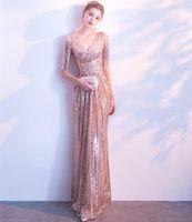 Sparking Vestidos de noche con lentejuelas con media manga con cremallera trasera rontera larga funda de fiesta fiestas formales