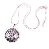 Triple Moon Goddess Wicca Pentagram Magic Amulet Ketting Dames Tree Moon Kettingen Hangers Vintage Sieraden