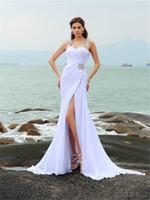 Halter Chiffon vestidos de casamento de praia 2019 New Hot venda personalizado Trem Tribunal Beads Luxo Cristais Sexy alta Dividir sereia vestidos de noiva W92