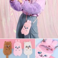 pink Girls Flannel Card Holder Bag Embroidery Dog Cat Cute P...