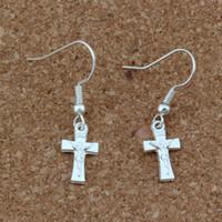 Gesù Cristo croce crocifisso orecchini argento pesce orecchio gancio 30 paia / lotto argento placcato gioielli lampadario 8x32mm a-258e