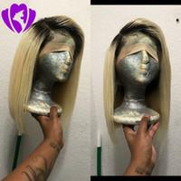 Lager Seide straight1B Ombre blonde Lace Front synthetische Perücken hitzebeständiges Haar Kurze Haare Bob Perücke Perücke für Frauen