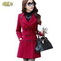 Plus Size New Herbst und Winter Kleidung Frauen langer Entwurf Wollmantel Weibliche Art und Weise dünne dünne lange Blends Trench Overcoat WKM494