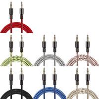 1 m Naylon Aux Kablo 3.5mm için 3.5mm Erkek Jack Oto Araba ses Kablosu Için Altın Fiş Kablolu hat Kablosu Iphone huawei 200 adet / grup