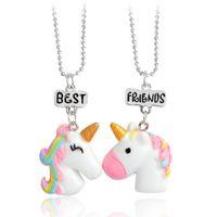 Смола популярные кулон 1 комплект детский цвет цельный единорог кулон ожерелье БФ для девушка бесплатная доставка