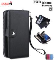 Zipper removível carteira lichia padrão pu leather case para iphone 7 6 6 s plus samsung galaxy s8 mais s7 edge nota 4/5 s4 s5 s6
