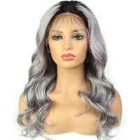 Ombre Grey Lace Front Human Hair Wigs Brazilian Virgin Body ...