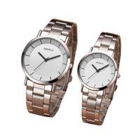 Mode Romantische Silber Paar Uhr Edelstahl männer frauen Quarz Lässige Analog Dünne Uhr Liebhaber Uhr