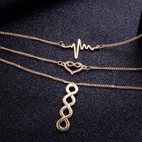 Многослойное ожерелье Электрокардиограмма Ошейник Lucky 8 Tassel Chine Ожерелье