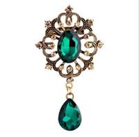 Винтажный дизайн горный хрусталь Корона Кристалл водослива кулон падение брошь Pin для женщин свадебные украшения много 12 шт.