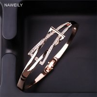 Fashion Geometric Crystal Bangles For Women Gold Silver Colo...