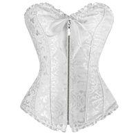 مثير الأبيض المرأة كورس زائد حجم مشد سستة overbust داخلية مع ثونغ سخرية korsett corpete المشدية e espartilho e10