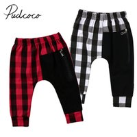 7d0a56e6fd 2018 Nuevo Niño Niño Infantil Niños Bebé Pantalones Harem Pantalones Largos  Leggings Checked Cremallera Patchwork Pantalones Ropa 1-6T