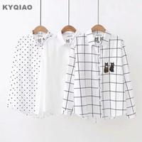 KYQIAO белый горошек рубашка для Мори девушки осень зима Япония стиль Каваи дизайн с длинным рукавом две кошки вышивка блузка