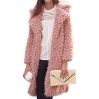 Donne lungo cappotto di pelliccia caldo di inverno del rivestimento della pelliccia del Faux signore Furry cappotto manica lunga Cardigan Outwear il soprabito