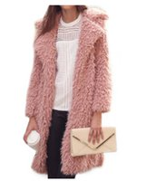 Women Woolen Jackets Long Winter Warm Coats Turn- down Collar...