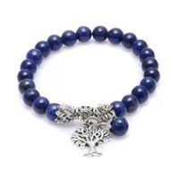 Amazone Chakra Pierre Naturelle Bracelet Lapis Priant Mara Yoga Perles Guérison Reiki Méditation Arbre de Vie Bracelet Énergie