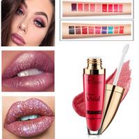 Pudaier Glitter Brillant à Lèvres Teinte Batom Maquillage Sexy Mat Nude Lipstick Lèvres Métalliques Diamond Imperméable À Lèvres Liquide Lip Lip Cosmetics