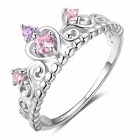 2018 Pink Cubic Zirconia Classic Crown shaped Real 925 Sterl...