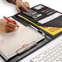 계산기와 함께 A4 PU 가죽 파일 폴더 다기능 사무용품 주최자 관리자 쓰기 패드 법적 종이 계약