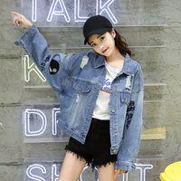 الدنيم سترة المرأة الجديدة الأزياء الكورية عارضة فضفاض جينز جاكيتات لون نقي BF نمط مطرز