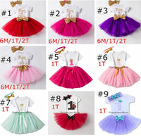 Ins Baby Girls Birthday Rompers TUTU Skirts Headband 3PC Sets Infant Toddler Girl Bubble Skirt Vestido Princesa Baby Summer Cotton Outfits