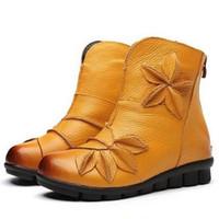New Classic Flores Mulheres botas de inverno quente botas 2020 best-seller Outono Primavera Genuine botas de couro mulheres da forma sapatos baixos antiderrapante