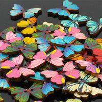 아름 다운 나비 모양 DIY Scrapbooking 단추 나무 단추 어린이 S 의류 재봉 개념 수동 바느질 도구 1000pcs / Lot