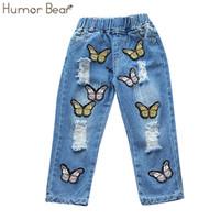Юмор медведь дети детская одежда 2017 новая мода девушки брюки бантом вышивание девушки джинсы Детские джинсовые брюки