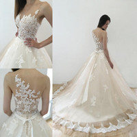 Delicate Ball Gown Wedding Dresses Sheer Neck Appliques Illu...