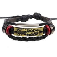 Couro, escorpião, pulseira, europeu e americano estilo punk liga de couro trançado pulseira de couro acessórios