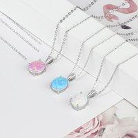 925 Стерлингового серебряного кулона Роскошная Овальная форма Опал Ожерелье Женщины Цепи Ожерелья День Рождения Подарки для жены (Hub Hub Fong)