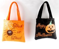 Halloween Candy Gift Bags Pumpkin Trick or Treat Non Woven B...