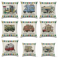 Pillow Covers Happy Campers Throw Pillow Case Sofa Cushion C...