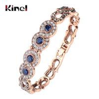 Kinel vintage gioielli all'ingrosso blu resina blu grigio cristallo fiore braccialetto per le donne antiche oro dubai gioielli 2017 nuovo